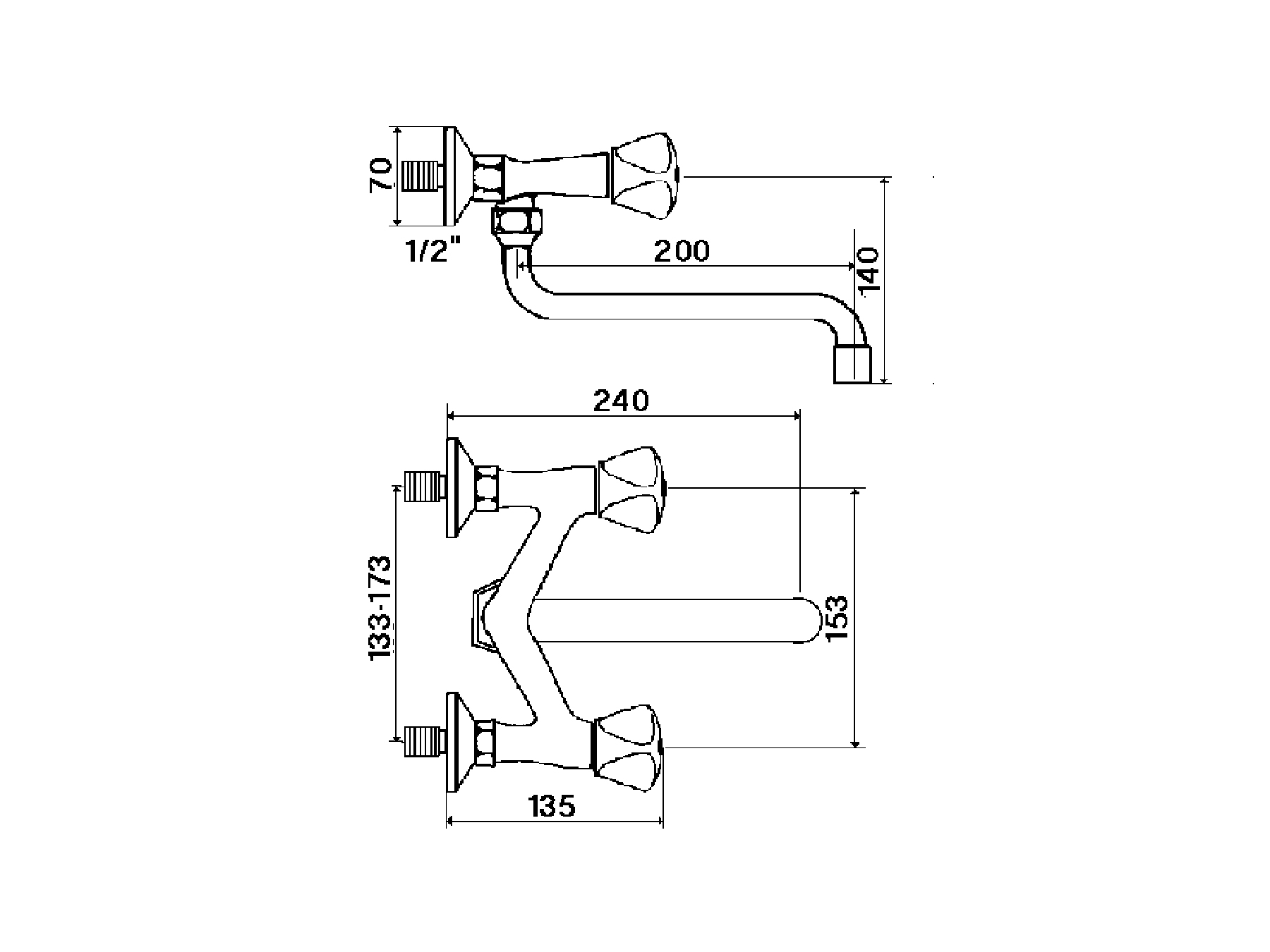 Wall-mounted kitchen mixer, spout under 1001.--.21