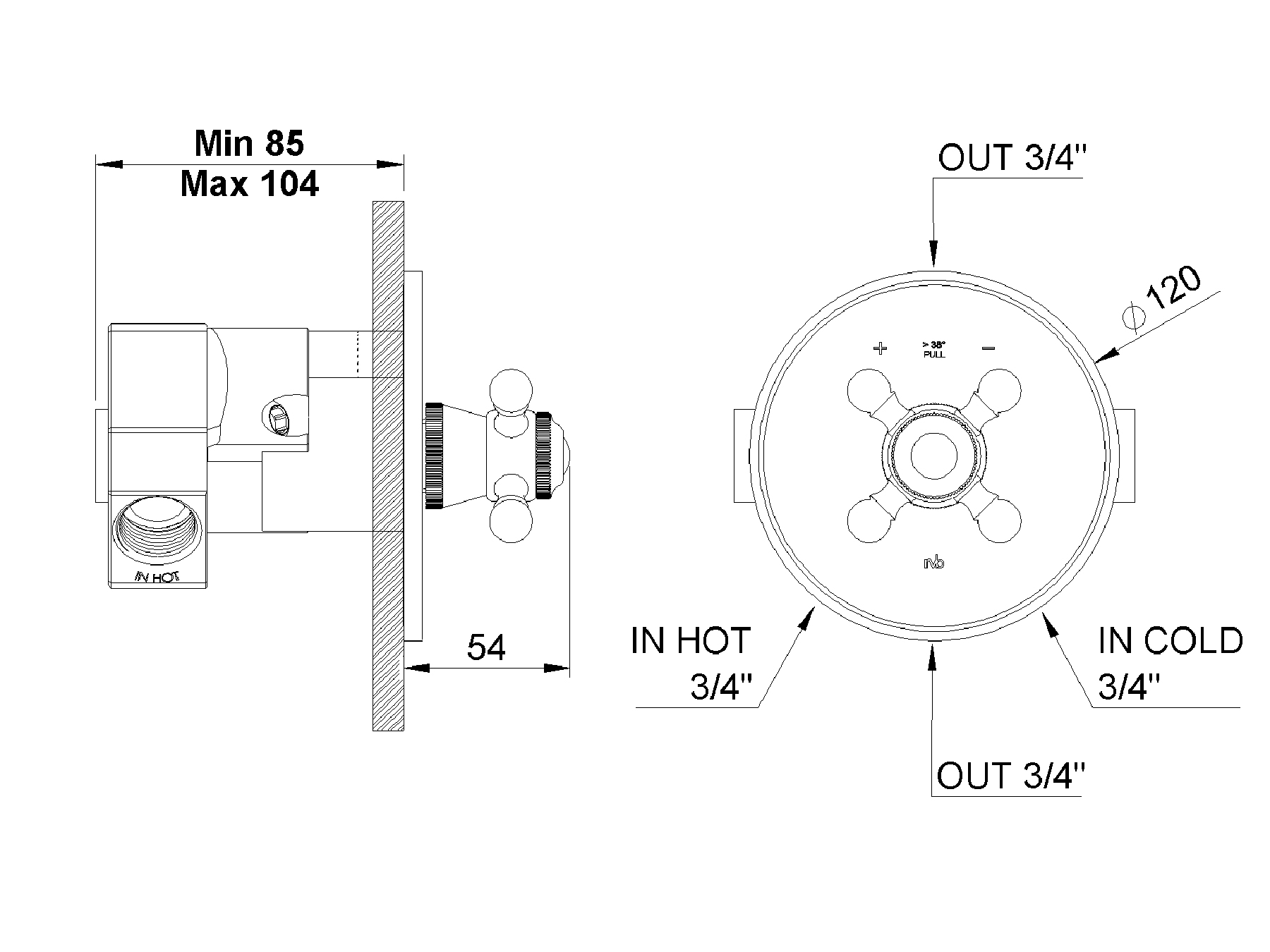 Concealed shower thermostat 1921.--.74
