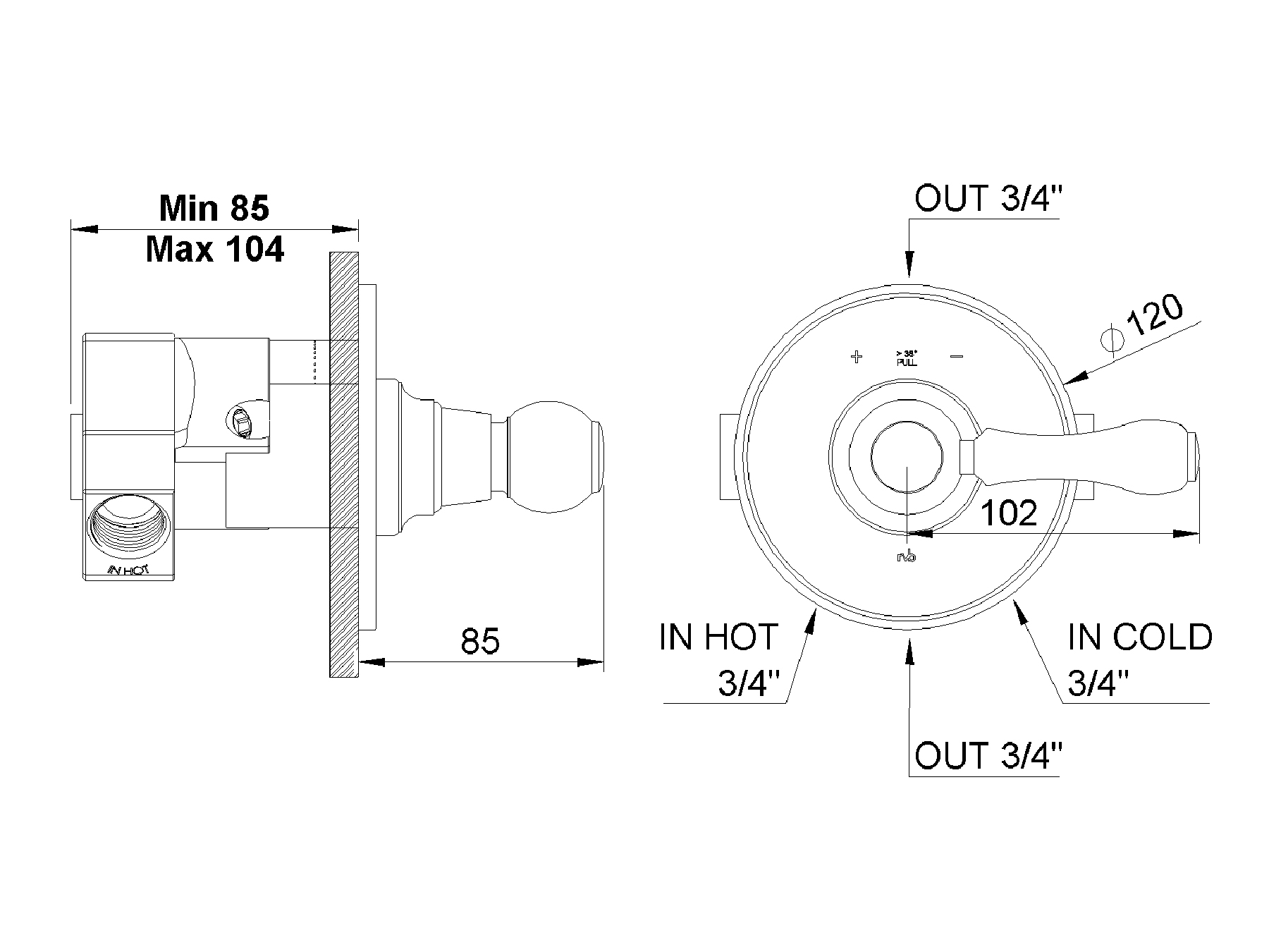 Concealed shower thermostat 1950.--.74-xx