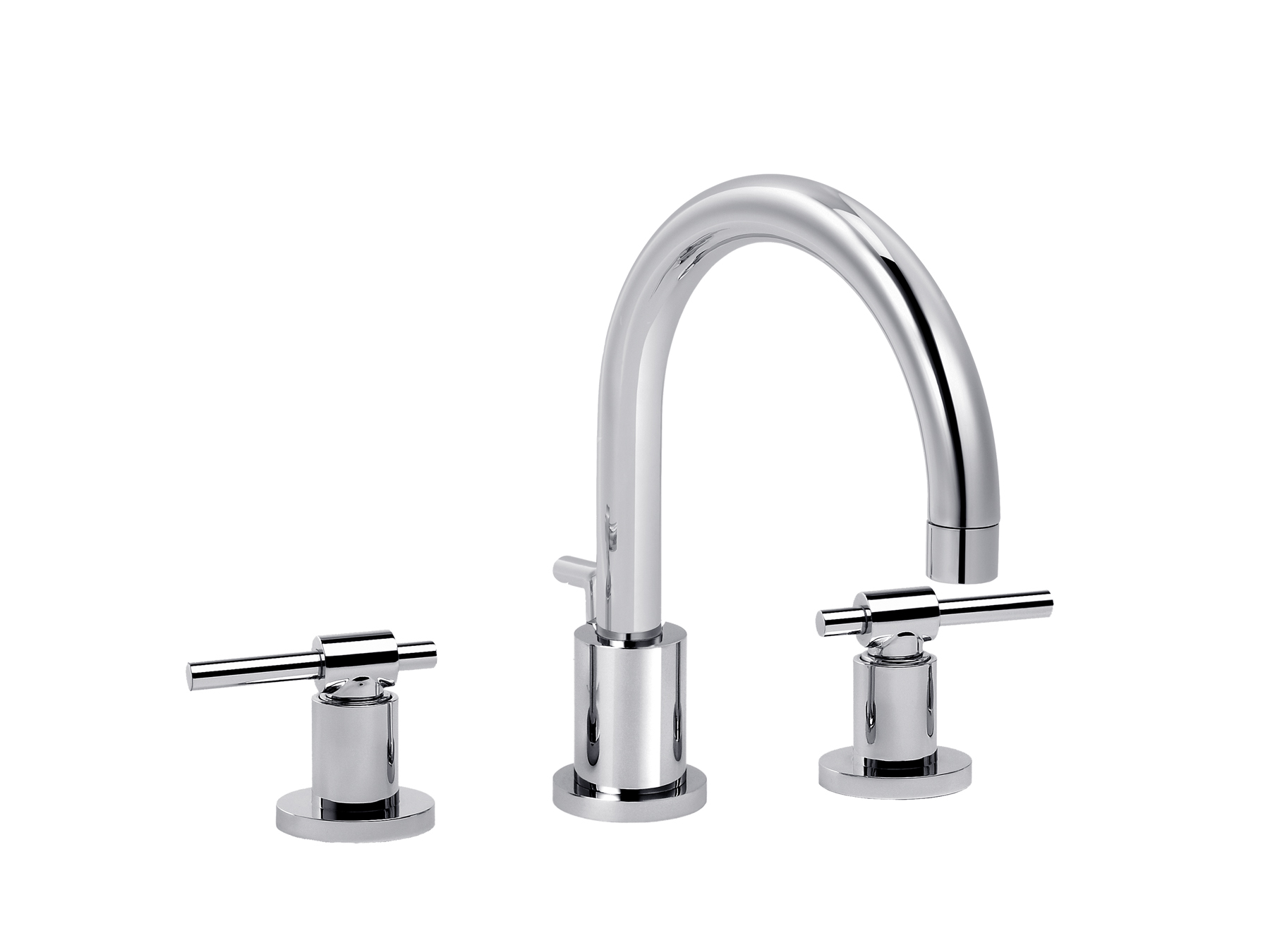 3-hole washbasin mixer, with waste, great spout 4027.--.49