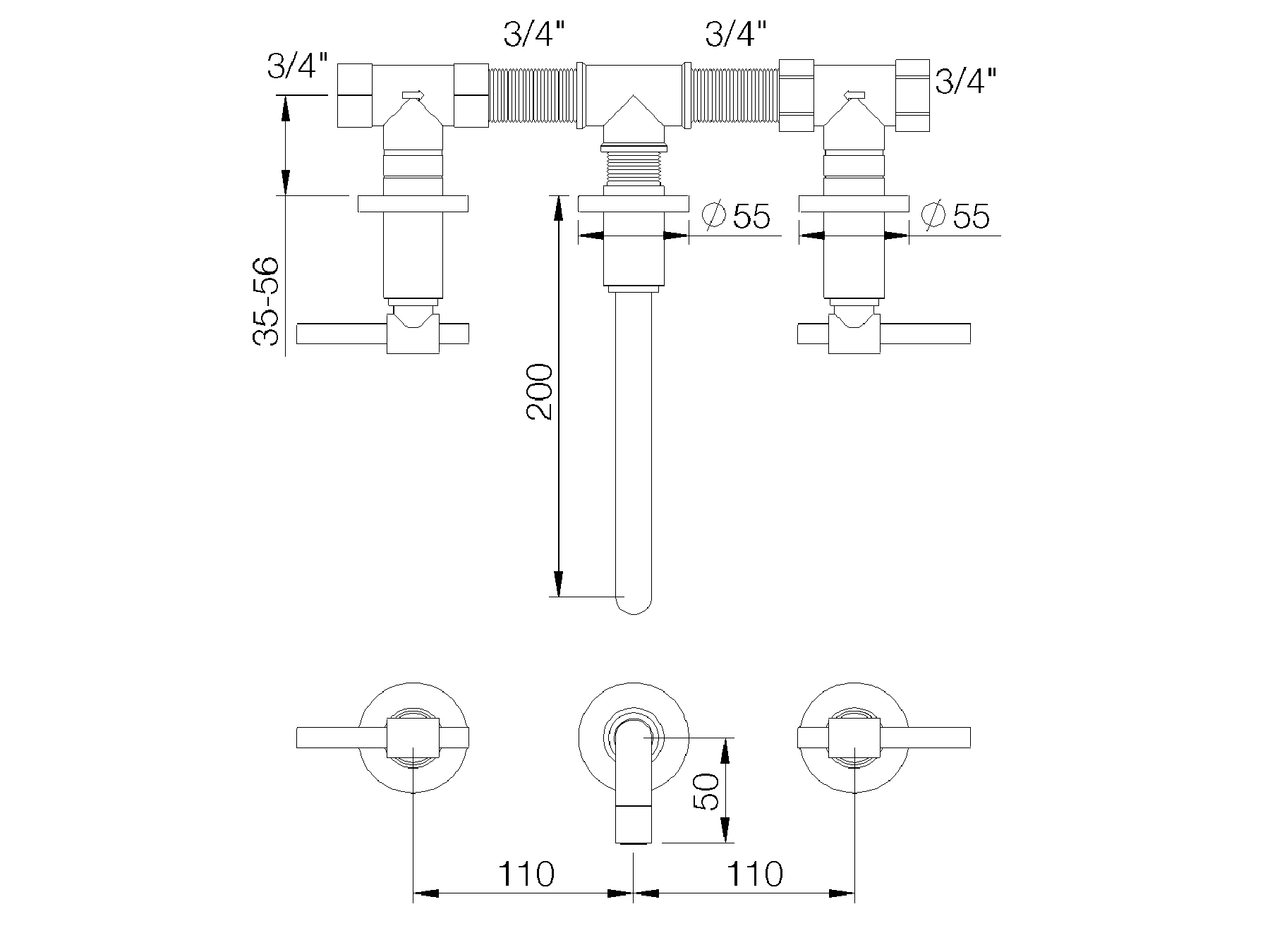 Faucet Tap Concealed Wall Mounted 3 Hole Washbasin Mixer Schematic Engineering Diagram 4027 51