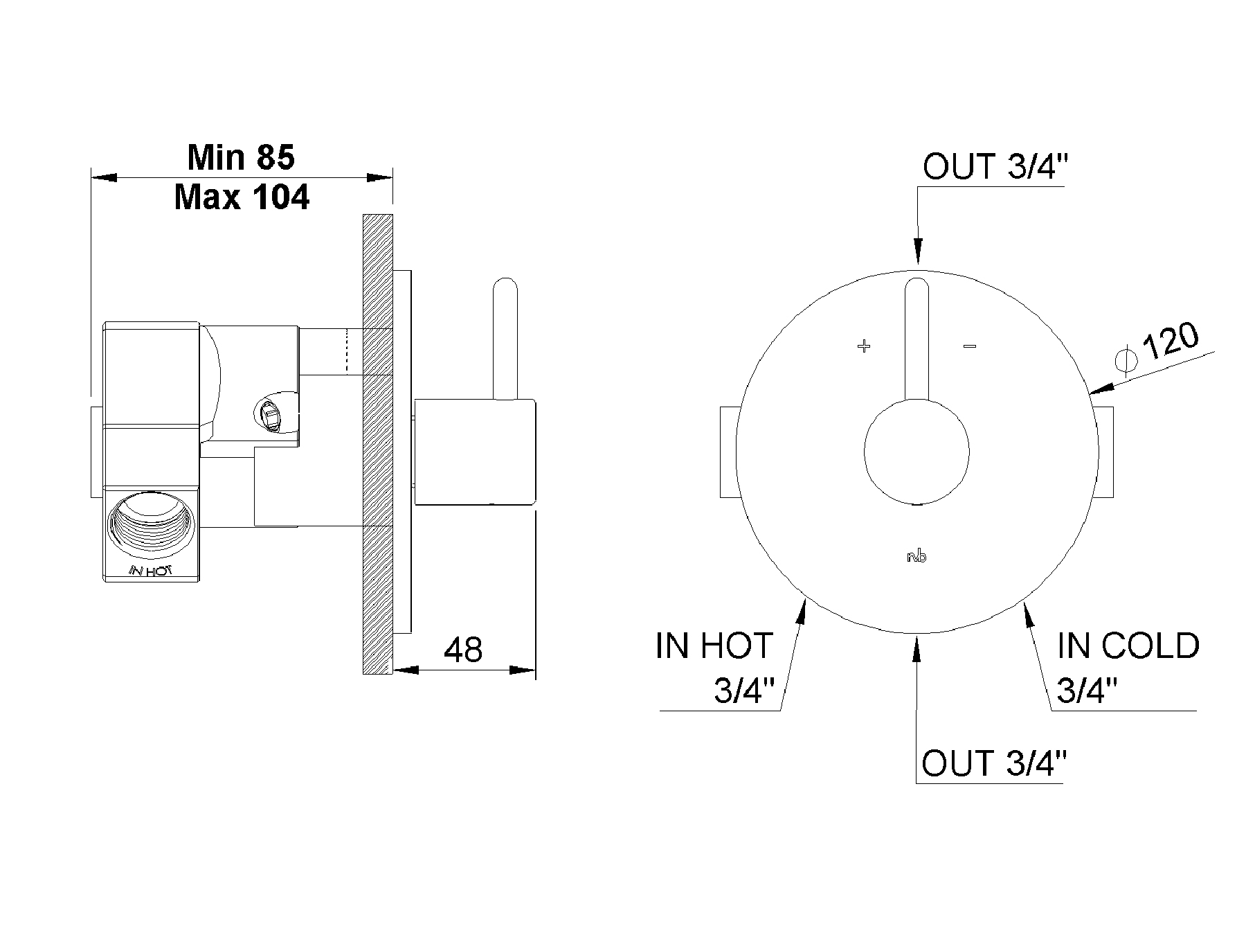 Concealed shower thermostat 4070.--.74