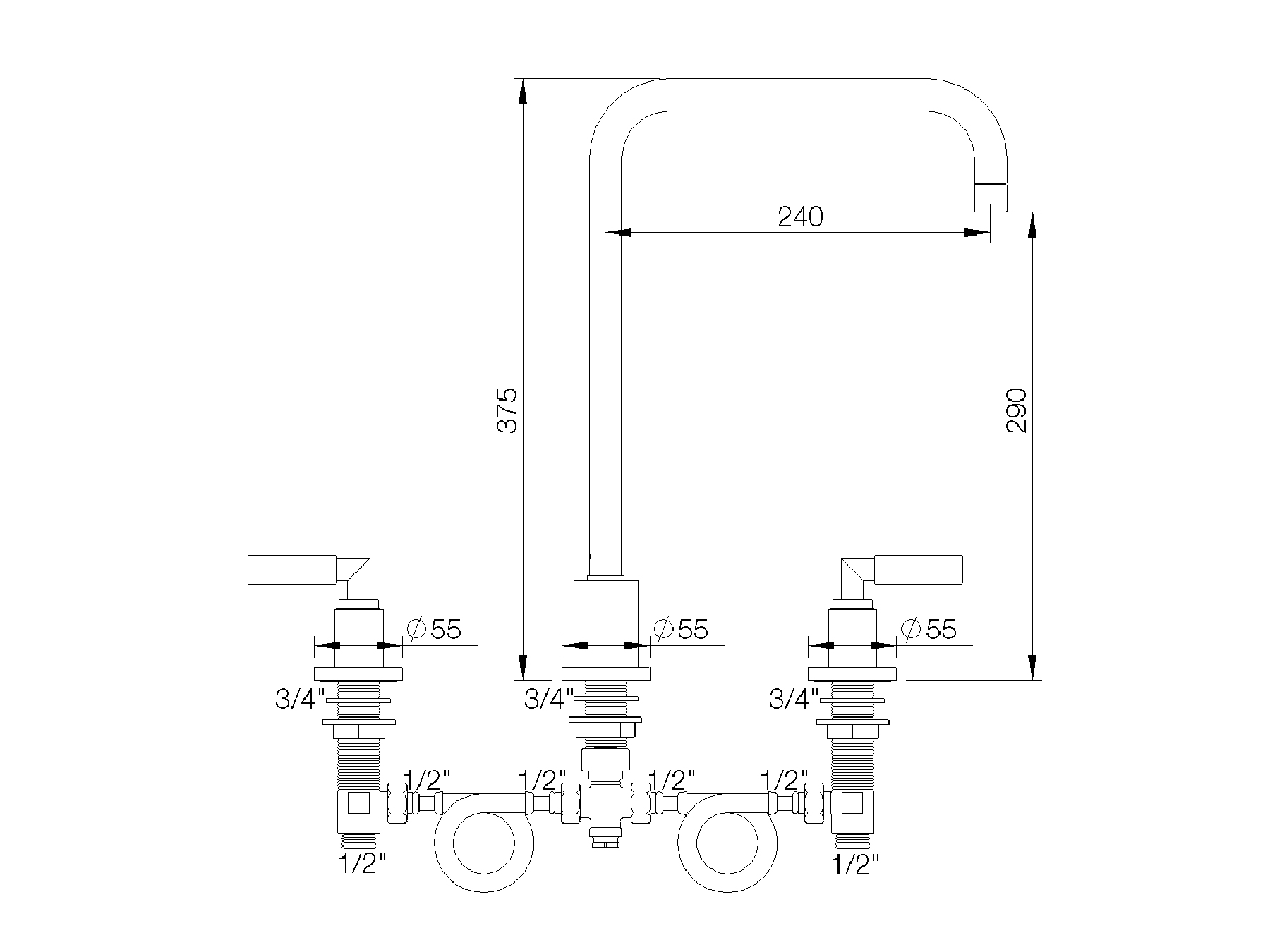 3-hole kitchen mixer, spout in U 4091.--.27