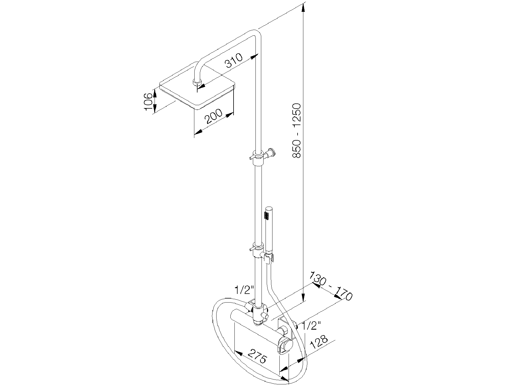 Wall-mounted single-lever shower mixer set 4541.--.32