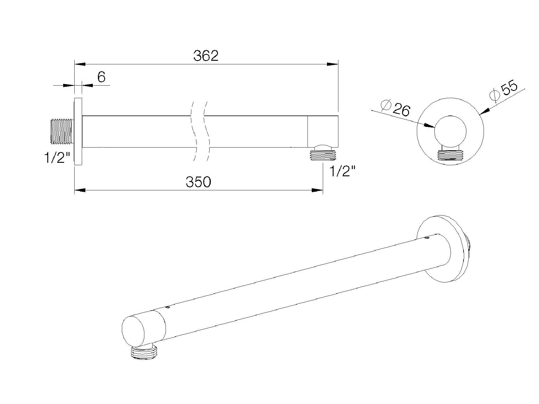 Round shower arm - 350mm 8020.--.62