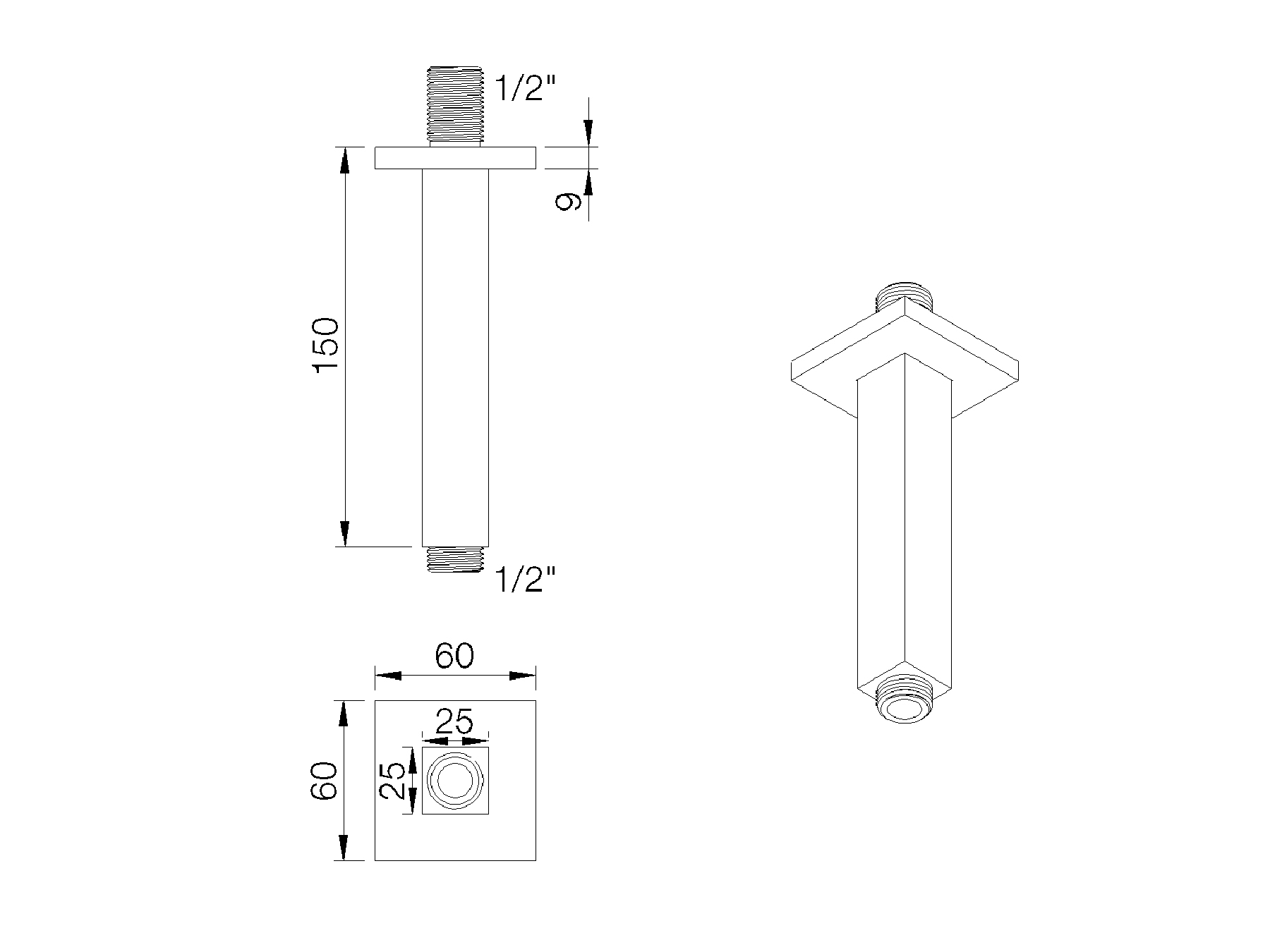Square shower arm - 150mm 8020.--.81