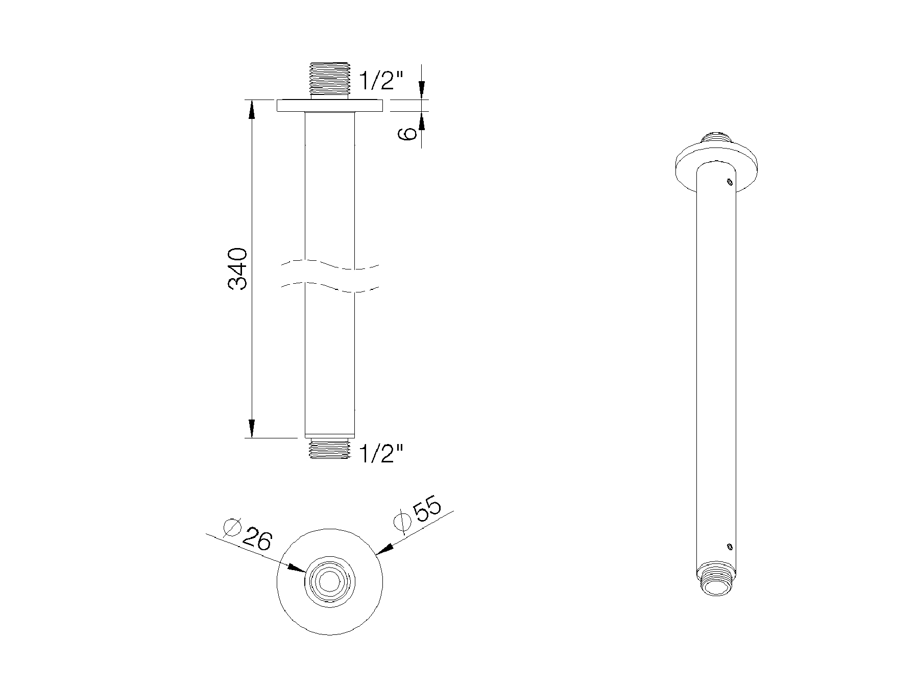 Round shower arm - 350mm 8020.--.84